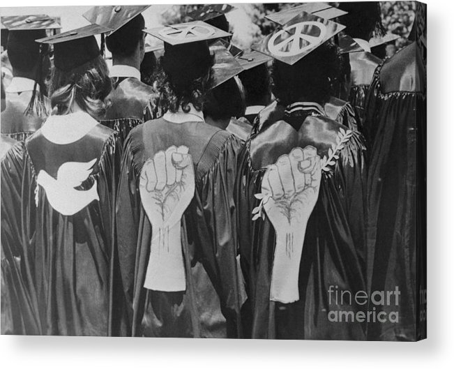 Headwear Acrylic Print featuring the photograph Students With Peace And Protest Symbols by Bettmann