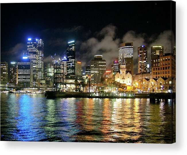 Outdoors Acrylic Print featuring the photograph Sydney Harbour At Night - Circular Quay by Gregory Adams