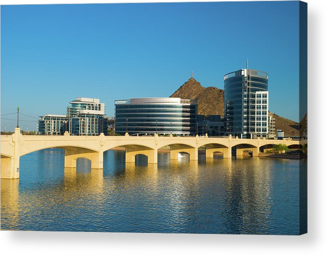 Salt River Acrylic Print featuring the photograph Tempe Skyline, River, And Bridge by Davel5957