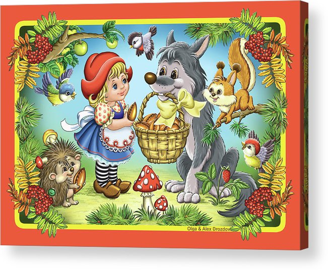 Wolf Acrylic Print featuring the digital art The Little Red Riding Hood by Olga And Alexey Drozdov
