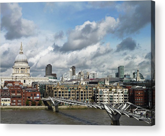 London Millennium Footbridge Acrylic Print featuring the photograph The London Skyline Towards St Pauls by Eyespy