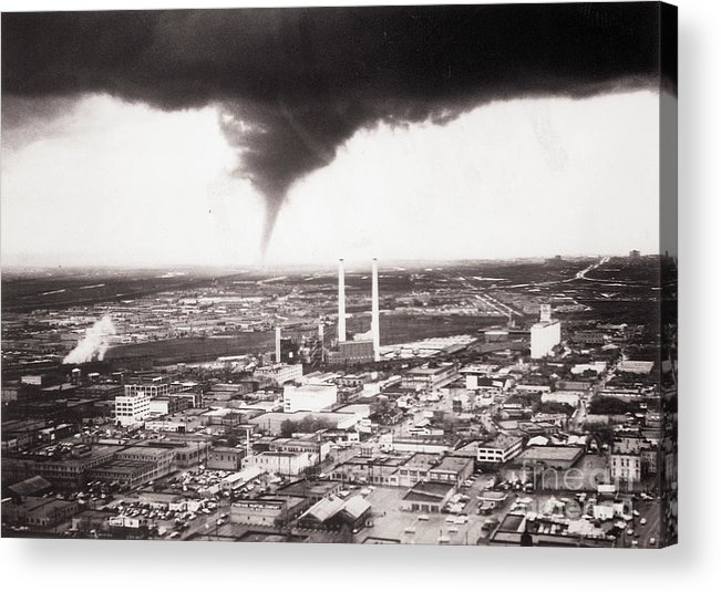 Industrial District Acrylic Print featuring the photograph Tornado Moving Through Dallas by Bettmann