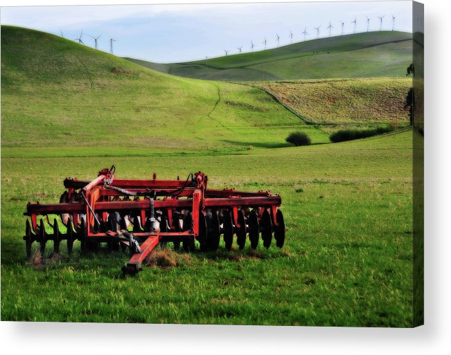 Working Acrylic Print featuring the photograph Tractor Blades On Green Pasture by Mitch Diamond