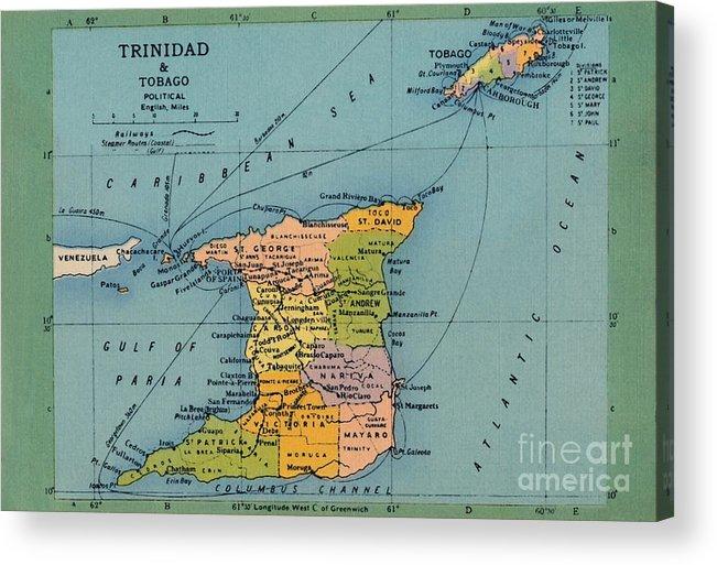 Trinidad And Tobago Acrylic Print featuring the drawing Trinidad & Tobago Map by Print Collector