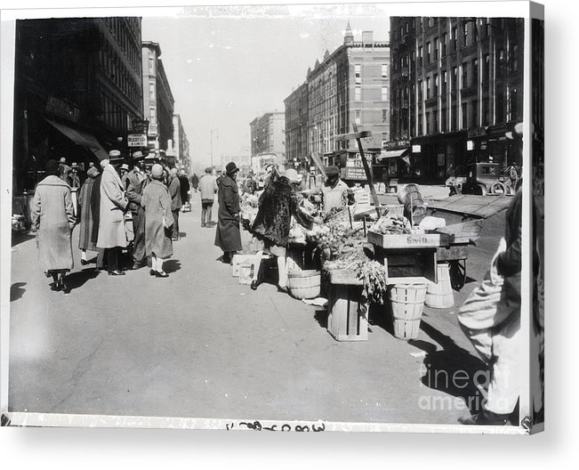 People Acrylic Print featuring the photograph Vegetable Stands In Harlem by Bettmann