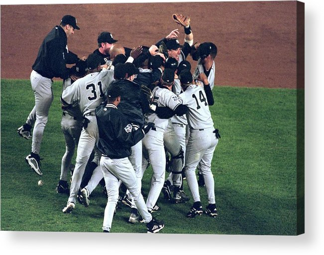 Celebration Acrylic Print featuring the photograph View Of Yankees by Al Bello