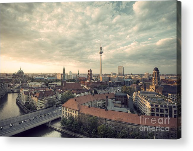 Alexanderplatz Acrylic Print featuring the photograph View Over Berlin Mitte At Evening by Ar Pictures