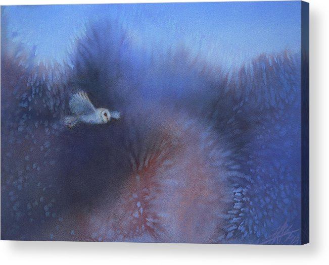 Landscape Acrylic Print featuring the painting Walking among Barn Owls by Robin Street-Morris