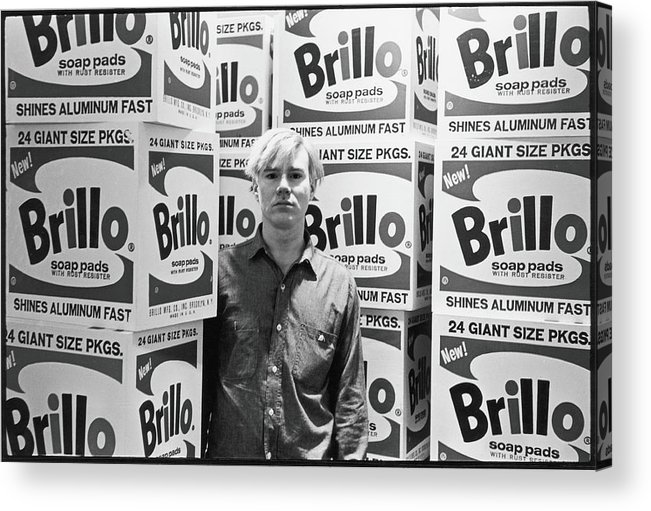 Artist Acrylic Print featuring the photograph Warhol & Brillo Boxes At Stable Gallery by Fred W. McDarrah