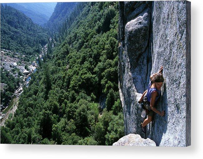 People Acrylic Print featuring the photograph Woman Rock Climbing High Above River by Heath Korvola