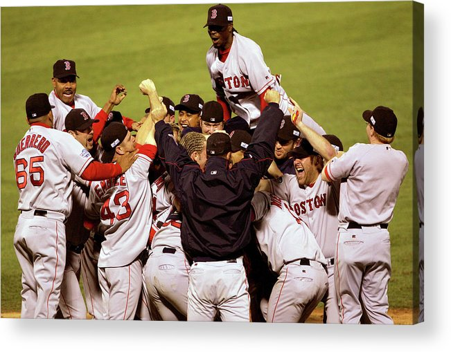 Celebration Acrylic Print featuring the photograph World Series Red Sox V Cardinals Game 4 by Stephen Dunn