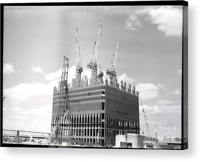 Trading Acrylic Print featuring the photograph World Trade Center Under Construction by Bettmann