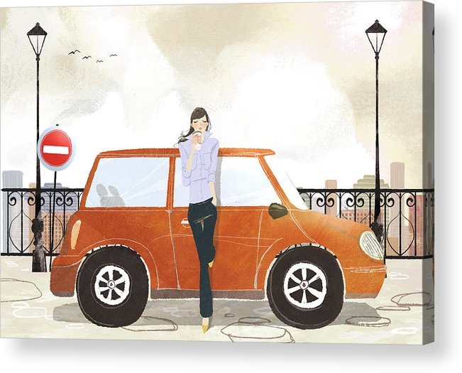 People Acrylic Print featuring the digital art Young Woman Standing In Front Of Car by Eastnine Inc.