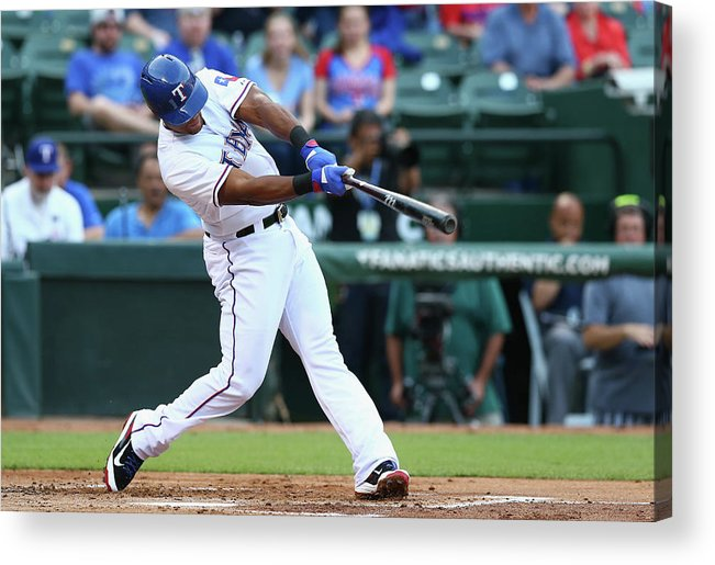 Adrian Beltre Acrylic Print featuring the photograph Adrian Beltre and Bruce Chen by Ronald Martinez