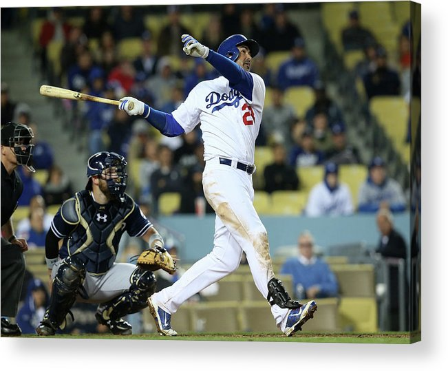 American League Baseball Acrylic Print featuring the photograph Adrian Gonzalez by Stephen Dunn