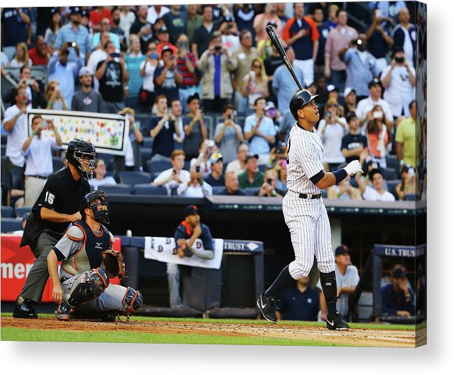 People Acrylic Print featuring the photograph Alex Rodriguez and Justin Verlander by Al Bello