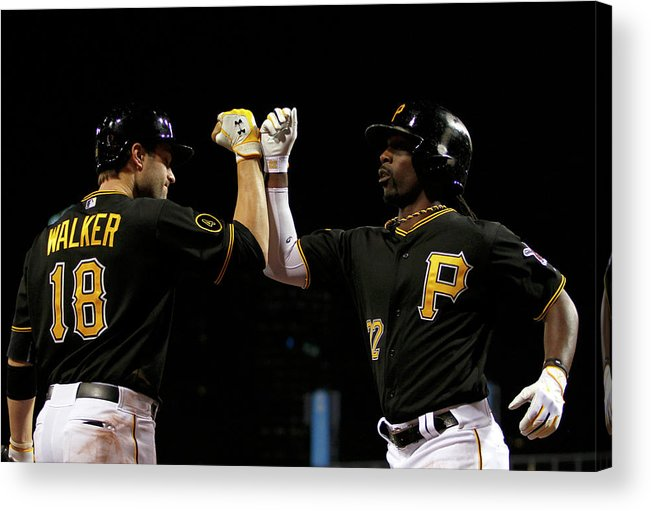 Professional Sport Acrylic Print featuring the photograph Andrew Mccutchen and Neil Walker by Justin K. Aller