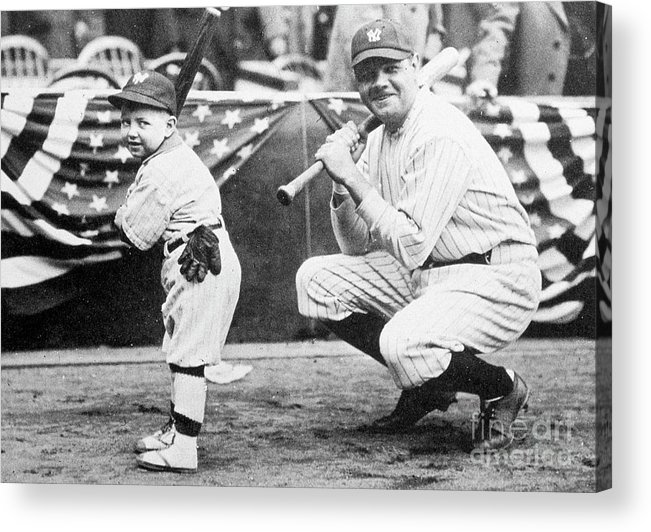 American League Baseball Acrylic Print featuring the photograph Babe Ruth by Transcendental Graphics