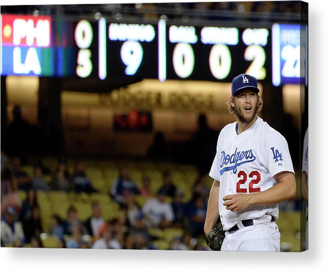 Ninth Inning Acrylic Print featuring the photograph Clayton Kershaw by Kevork Djansezian