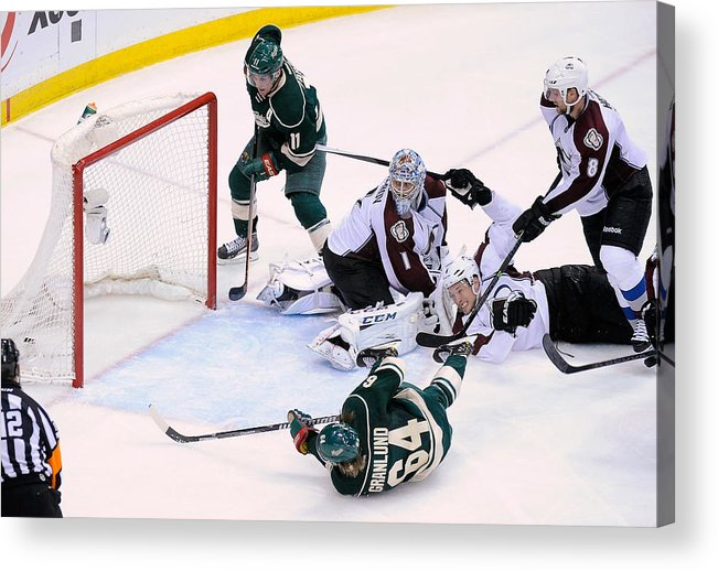 Playoffs Acrylic Print featuring the photograph Colorado Avalanche v Minnesota Wild - Game Three by Hannah Foslien