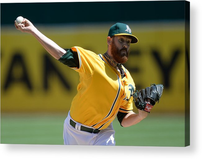 American League Baseball Acrylic Print featuring the photograph Dan Straily by Thearon W. Henderson