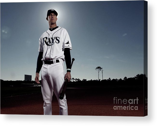 Media Day Acrylic Print featuring the photograph Evan Longoria by Nick Laham