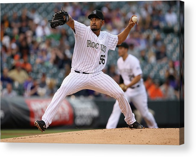 Baseball Pitcher Acrylic Print featuring the photograph Franklin Morales by Doug Pensinger