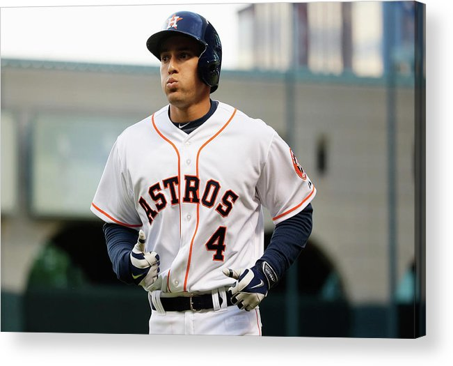 American League Baseball Acrylic Print featuring the photograph George Springer by Scott Halleran