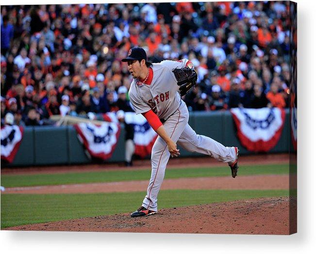 American League Baseball Acrylic Print featuring the photograph Junichi Tazawa by Rob Carr