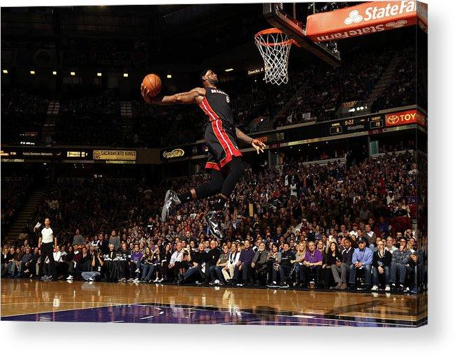 Nba Pro Basketball Acrylic Print featuring the photograph Lebron James by Ezra Shaw