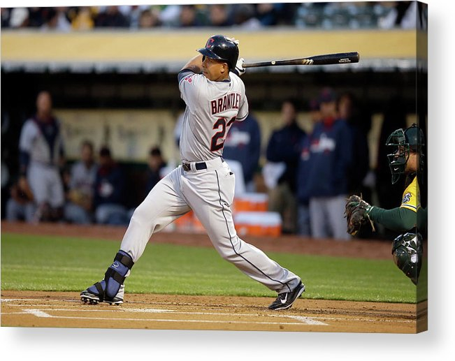 American League Baseball Acrylic Print featuring the photograph Michael Brantley by Ezra Shaw