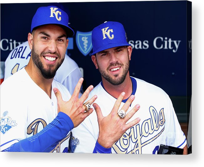 People Acrylic Print featuring the photograph Mike Moustakas and Eric Hosmer by Jamie Squire