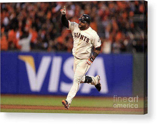 San Francisco Acrylic Print featuring the photograph Pablo Sandoval and Justin Verlander by Doug Pensinger