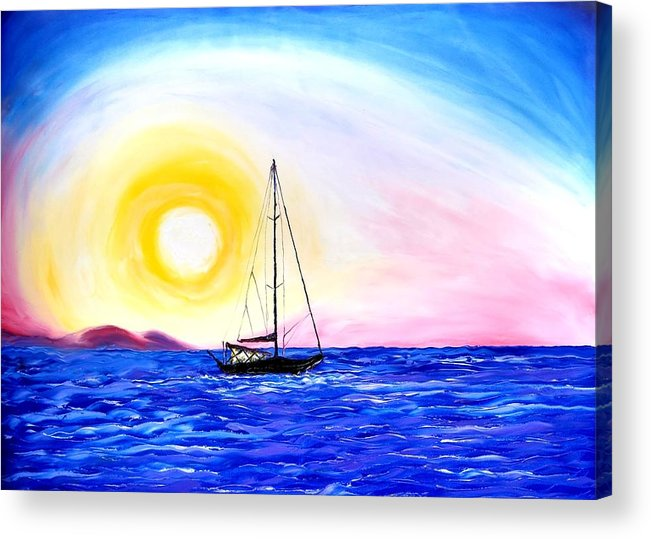 Acrylic Print featuring the painting Pink Sky Sails #1 by Dunbar's Local Art Boutique
