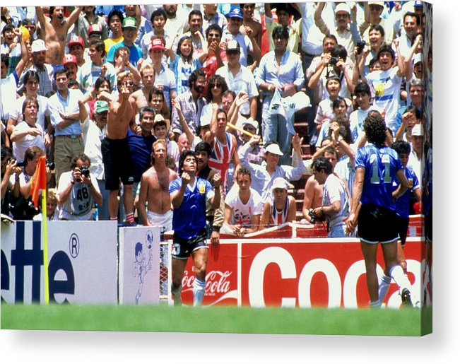 1980-1989 Acrylic Print featuring the photograph Soccer - World Cup Mexico 1986 - Quarter Final - Argentina v England by Peter Robinson - EMPICS