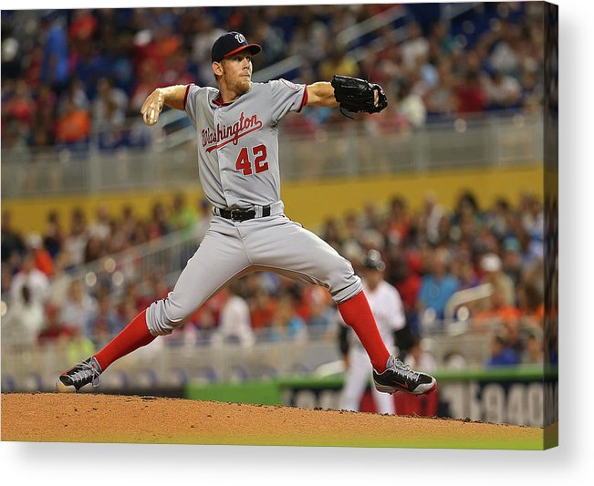 American League Baseball Acrylic Print featuring the photograph Stephen Strasburg by Mike Ehrmann