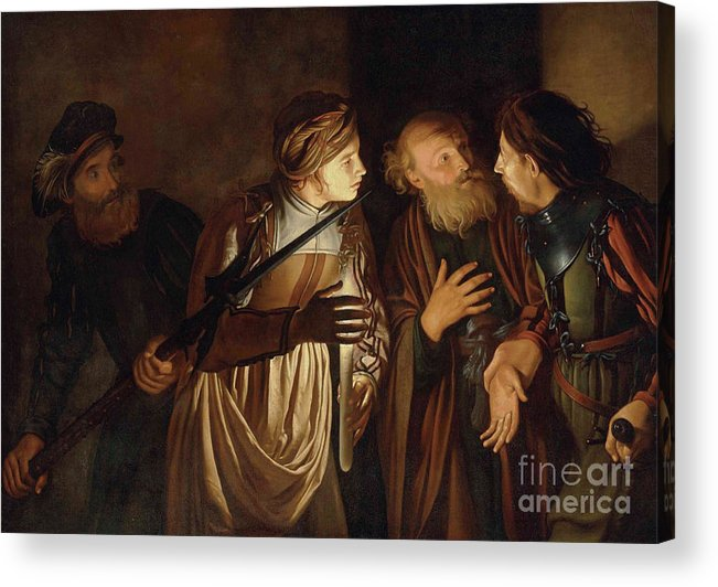 Coster Acrylic Print featuring the painting The Denial of Saint Peter by Adam de Coster