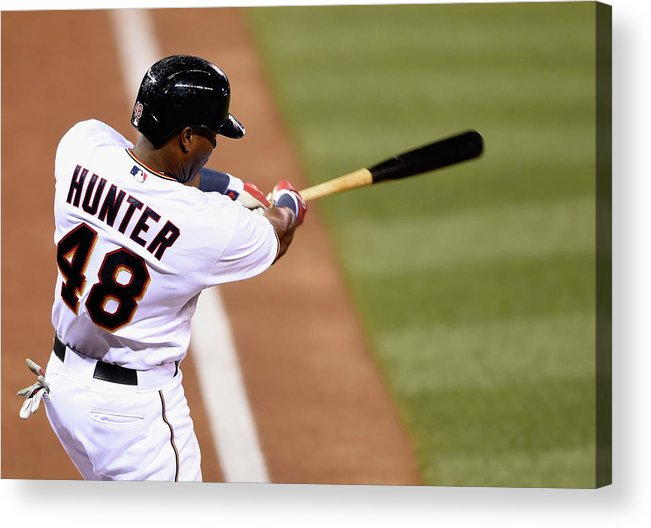 Three Quarter Length Acrylic Print featuring the photograph Torii Hunter by Hannah Foslien