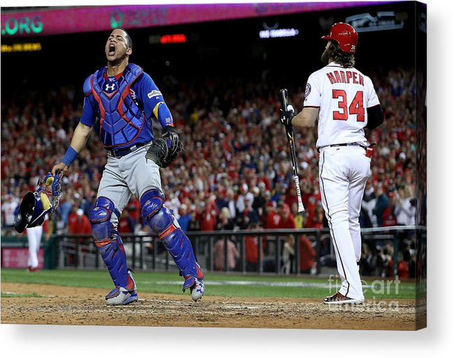 People Acrylic Print featuring the photograph Willson Contreras and Bryce Harper by Win Mcnamee