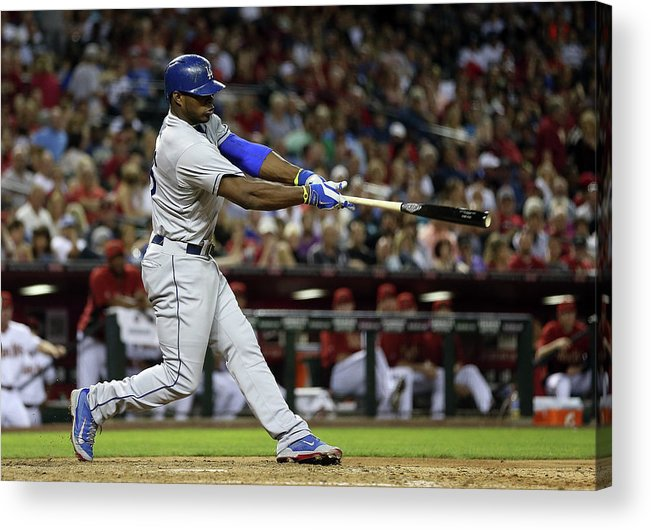 Los Angeles Dodgers Acrylic Print featuring the photograph Yasiel Puig by Christian Petersen