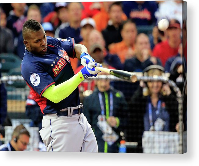 American League Baseball Acrylic Print featuring the photograph Yasiel Puig by Rob Carr