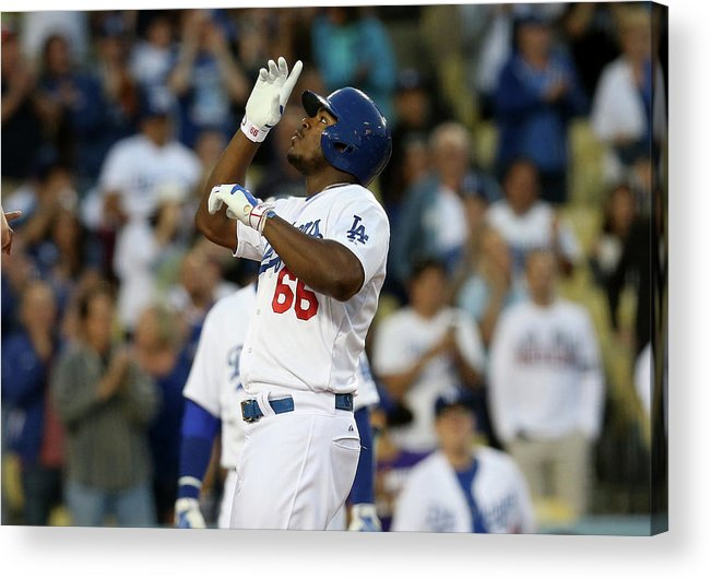 Second Inning Acrylic Print featuring the photograph Yasiel Puig by Stephen Dunn