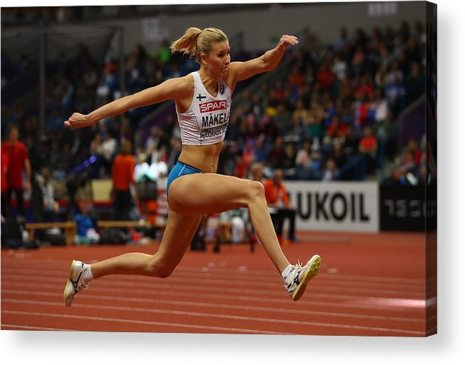 Women's Field Event Acrylic Print featuring the photograph 2017 European Athletics Indoor Championships - Day Two by Alexander Hassenstein