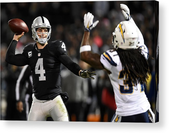 Three Quarter Length Acrylic Print featuring the photograph San Diego Chargers v Oakland Raiders by Thearon W. Henderson