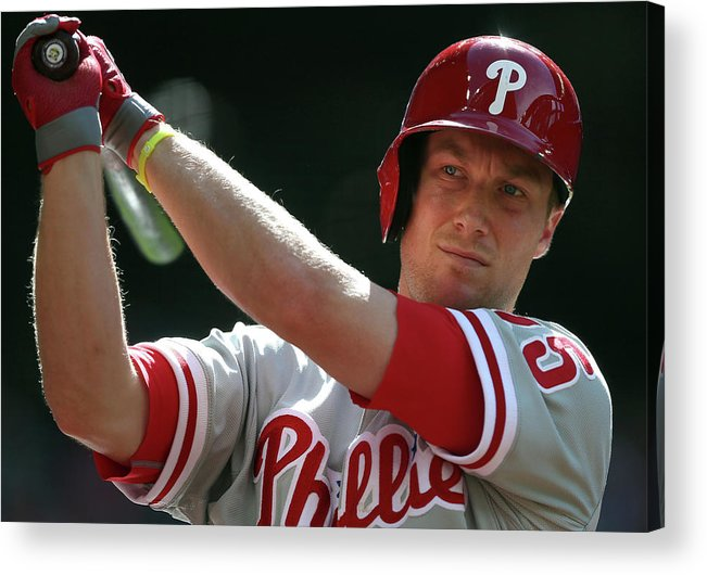 Ninth Inning Acrylic Print featuring the photograph Cody Asche by Christian Petersen