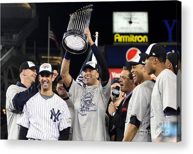 American League Baseball Acrylic Print featuring the photograph Derek Jeter, Mariano Rivera, and Jorge Posada by Jed Jacobsohn