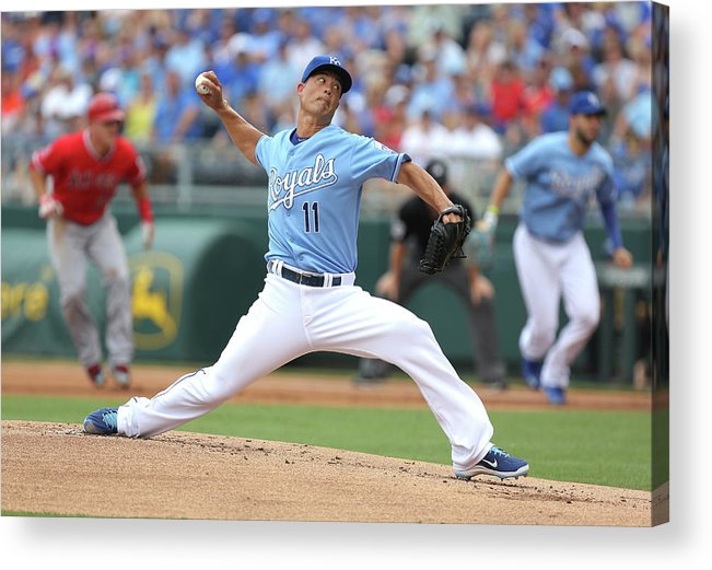 American League Baseball Acrylic Print featuring the photograph Jeremy Guthrie by Ed Zurga
