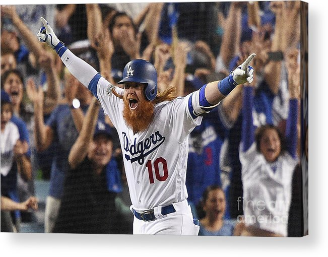 Game Two Acrylic Print featuring the photograph Justin Turner by Kevork Djansezian