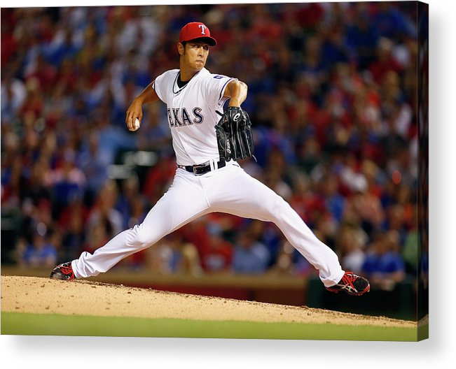 American League Baseball Acrylic Print featuring the photograph Yu Darvish by Tom Pennington