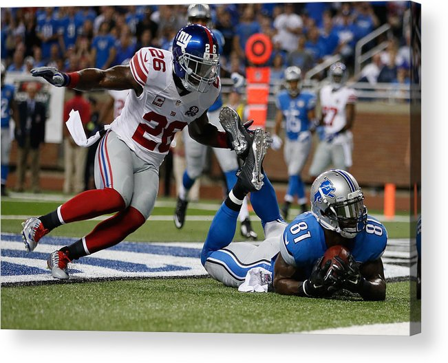 Detroit Acrylic Print featuring the photograph New York Giants v Detroit Lions by Gregory Shamus